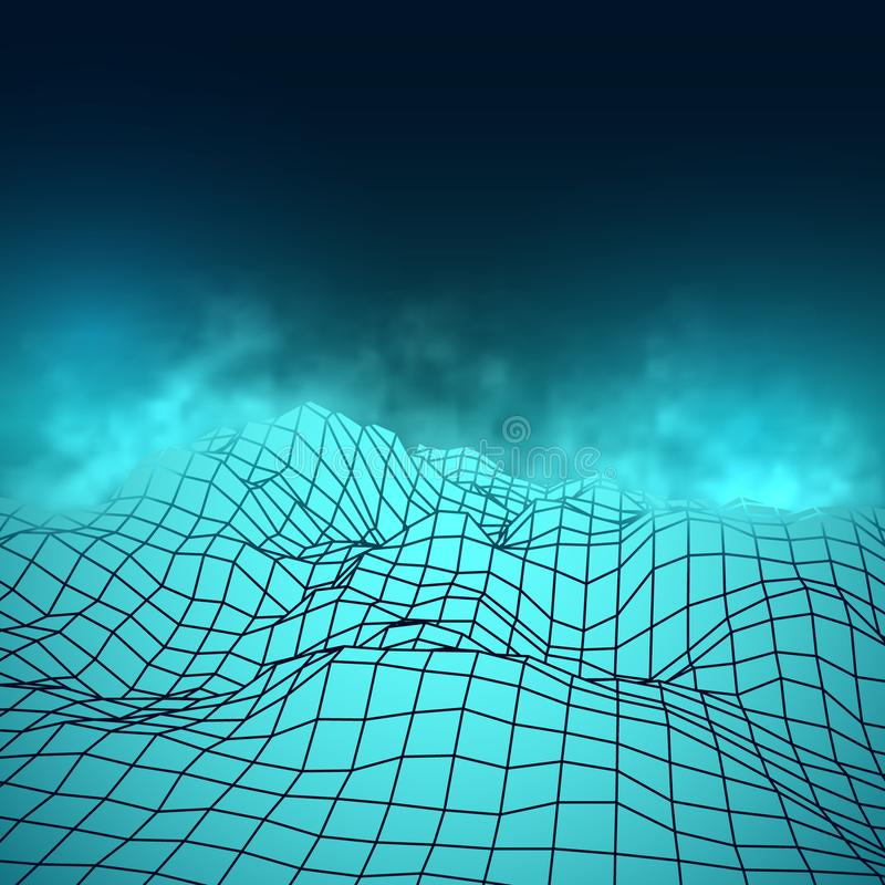 Футуристические абстрактные ячеистые горы Сетка Cyberspace в голубых цветах иллюстрация штока