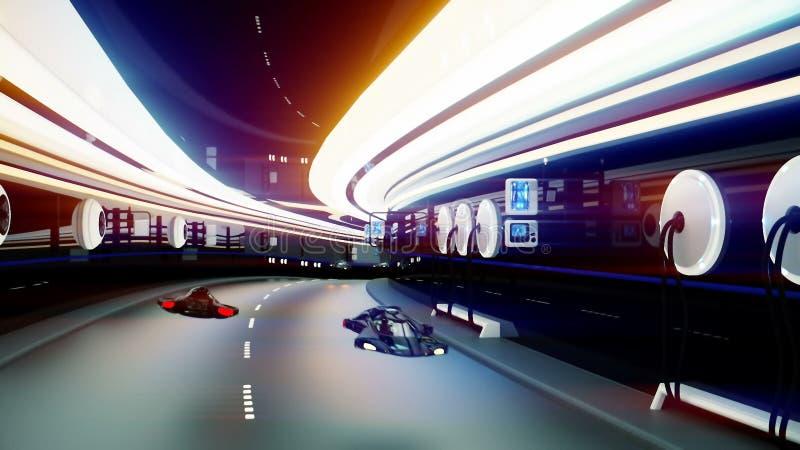 Футуристические автомобили летания с полицией в sci fi прокладывают тоннель стоковые фото