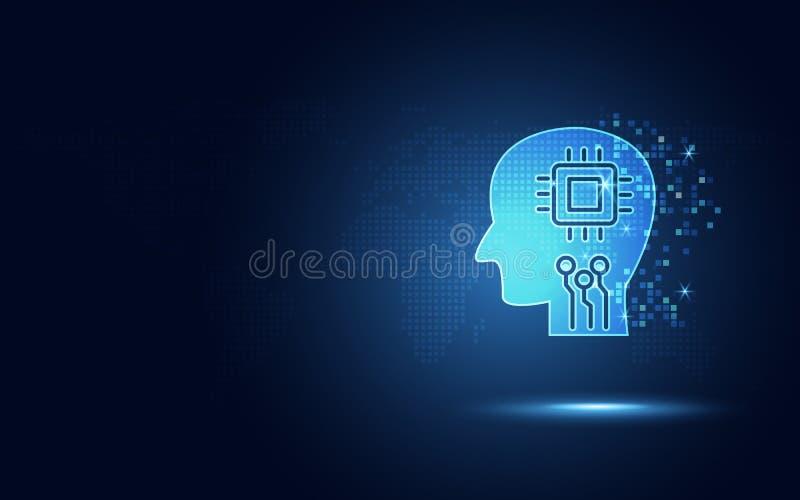 Футуристические голубые человеческие вычислительная цепь и микросхема в мозге как искусственный интеллект или робототехника AI ци иллюстрация вектора