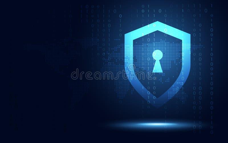 Футуристические голубые этики экрана и предпосылка абстрактной технологии обеспечения секретности Искусственный интеллект цифрово бесплатная иллюстрация