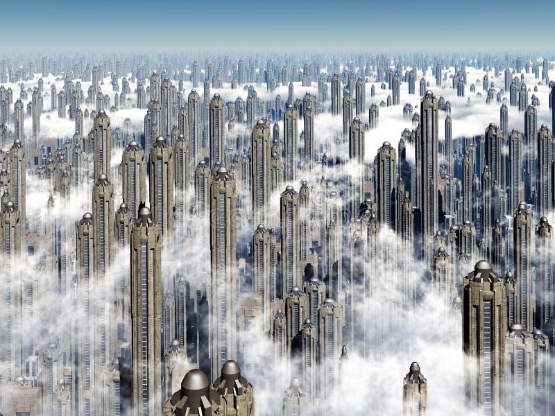 футуристические небоскребы иллюстрация штока