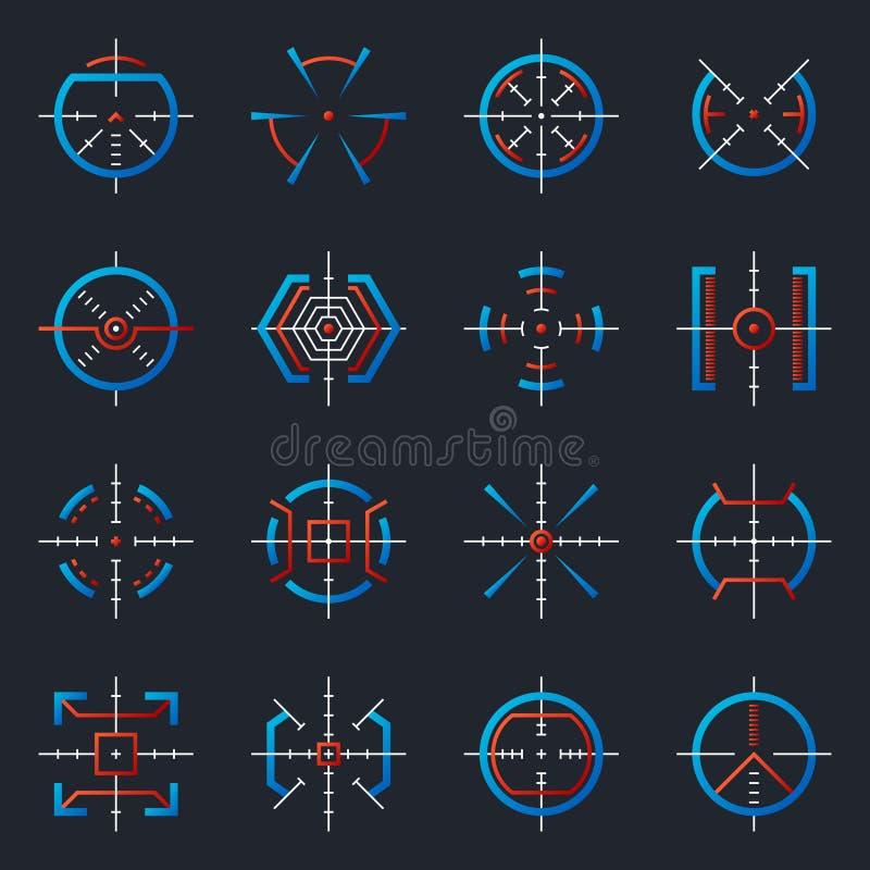 Футуристические оптически военные цели Цели оружия, индикаторы ряда фокуса Цель оружия снайпера с hud UI к точности иллюстрация вектора