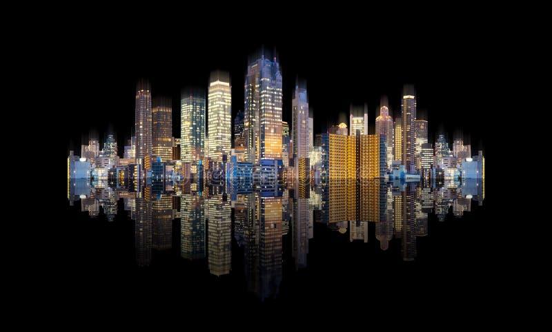 Футуристические современные здания с отражением, изолированным на черной предпосылке стоковое фото