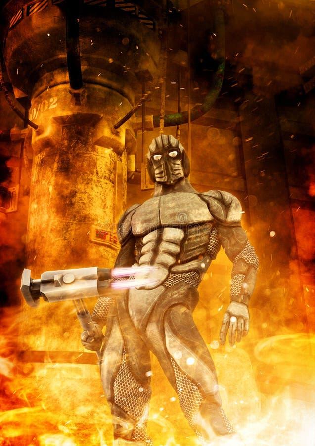 Футуристические солдат и огонь иллюстрация вектора