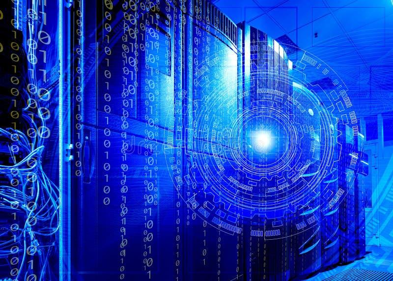 Футуристические технологии сервера концепции и технологическая предпосылка стоковое изображение rf