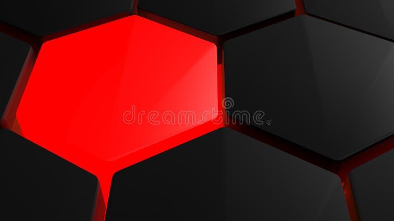 Футуристические шестиугольники на красном backlight бесплатная иллюстрация