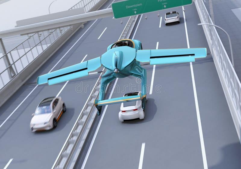 Футуристический автомобиль летания летая над шоссе бесплатная иллюстрация
