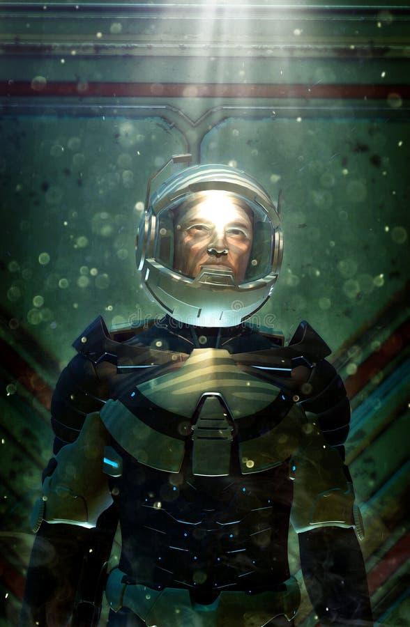 Футуристический астронавт в космическом костюме иллюстрация вектора