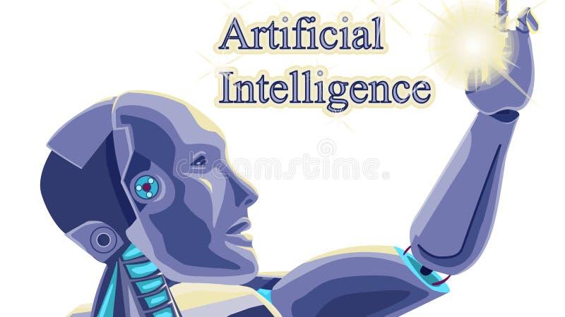 Футуристический вектор робота концепции искусственного интеллекта иллюстрация вектора