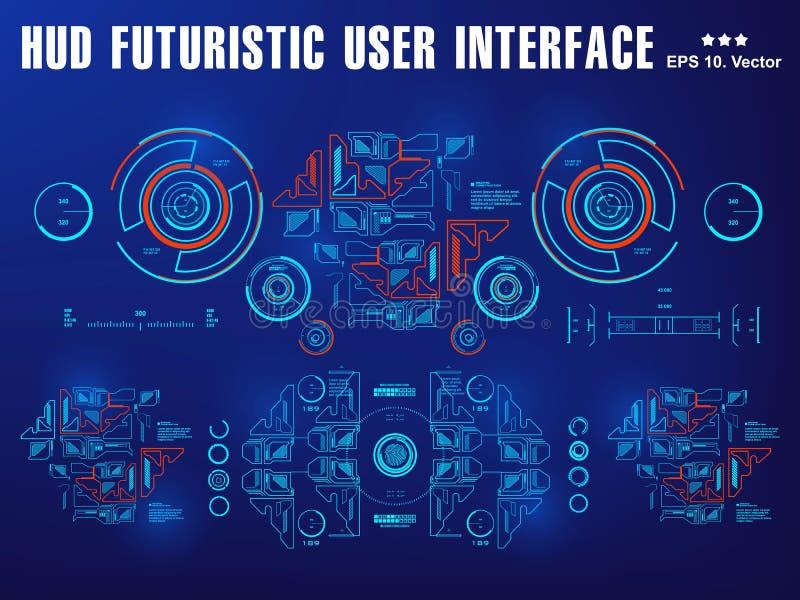 Футуристический виртуальный графический пользовательский интерфейс касания, шлем HUD научной фантастики цели Будущий дизайн диспл иллюстрация штока
