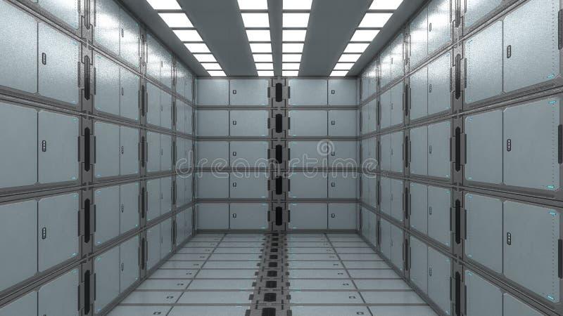 Футуристический внутренний коридор стоковое изображение