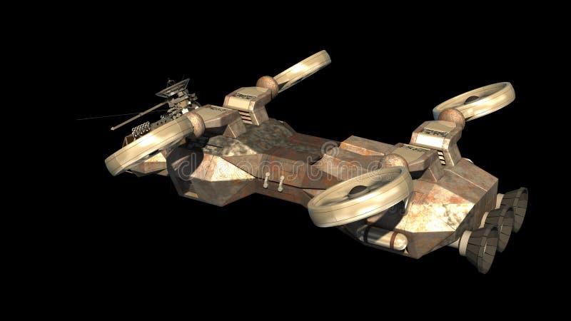 Футуристический воинский линкор с похожими на вертолет пропеллерами иллюстрация вектора