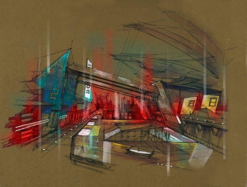 Футуристический вокзал города метро иллюстрация вектора