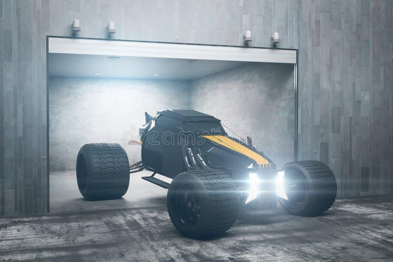 Футуристический гараж с автомобилем бесплатная иллюстрация