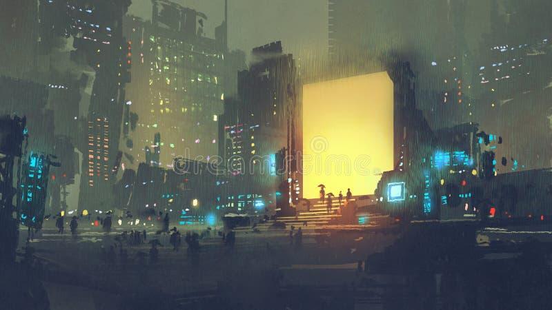 Футуристический город с много людей внутри teleport станция иллюстрация штока