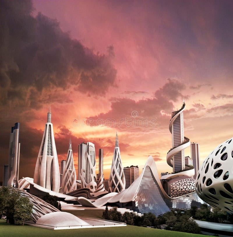 Футуристический город с органическим архитектурным дизайном иллюстрация штока