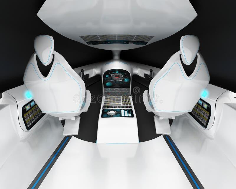 Футуристический дизайн интерьера предпринимательского класса воздушных судн пилотной кабины зазвукового иллюстрация вектора