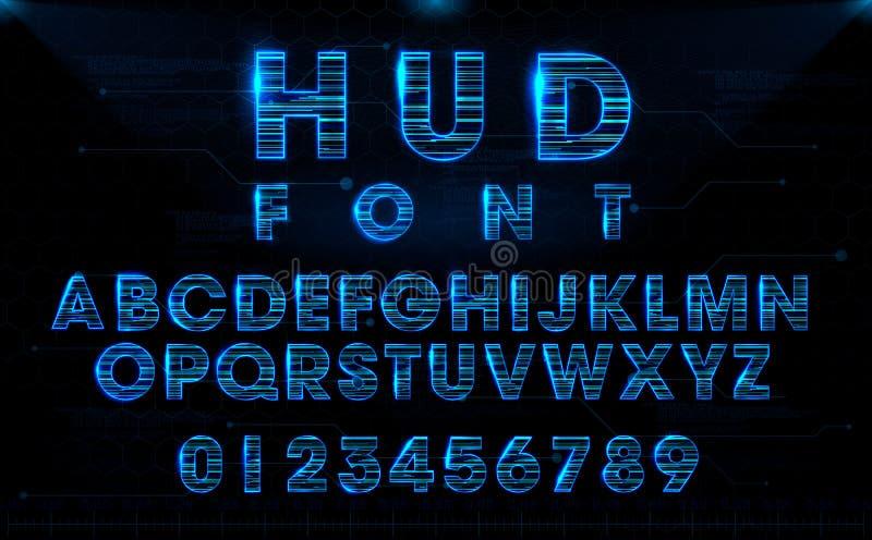 Футуристический дизайн шрифта вектора HUD голубой иллюстрация вектора
