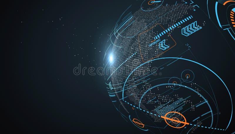Футуристический интерфейс глобализации бесплатная иллюстрация