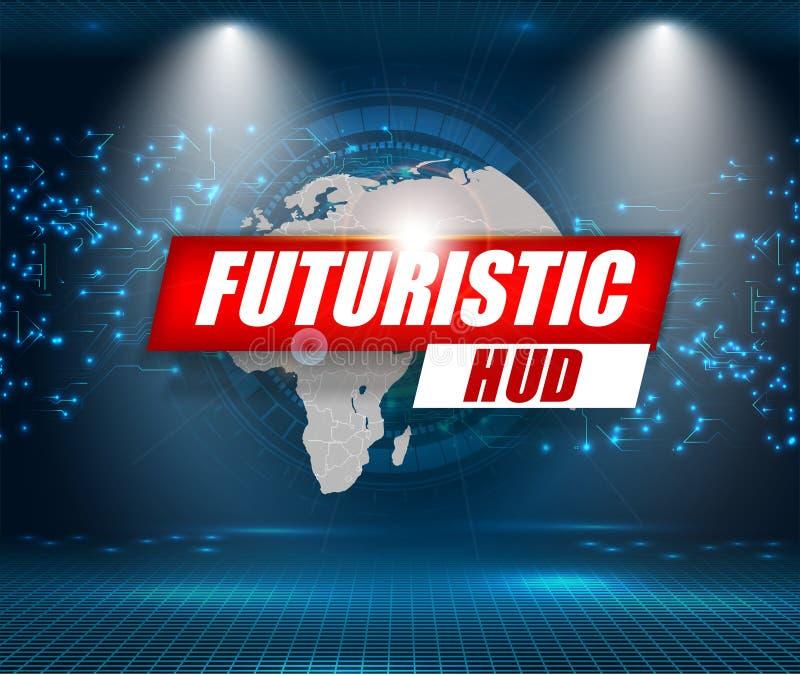 Футуристический интерфейс, HUD, предпосылка вектора Ui абстрактной технологии иллюстрация вектора