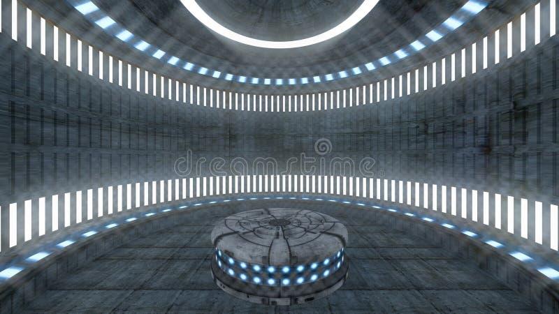 футуристический интерьер комплекта 3D иллюстрация вектора