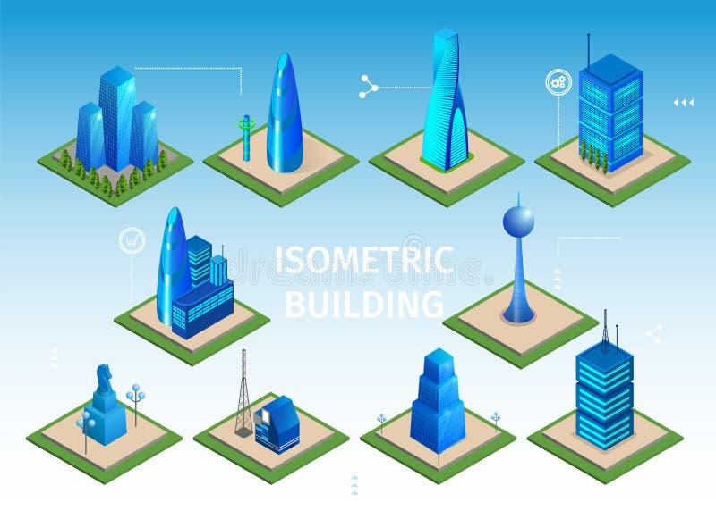Футуристический набор зданий Умный город 3D возражает иллюстрация вектора