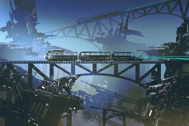 Футуристический поезд на железной дороге и мост в покинутом городе иллюстрация штока