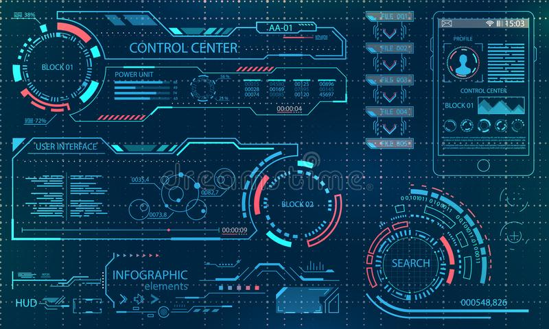 Футуристический пользовательский интерфейс Виртуальное графическое касание UI для VR Элементы HUD Infographic для дизайна движени иллюстрация штока