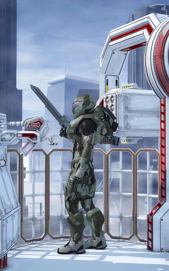 Футуристический попечитель города солдата бесплатная иллюстрация