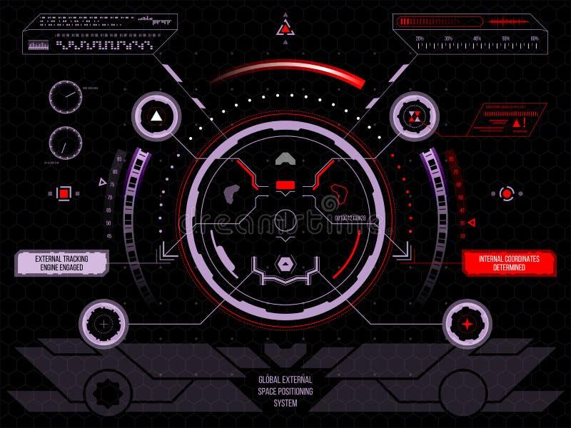 Футуристический пользовательский интерфейс HUD экрана касания иллюстрация штока