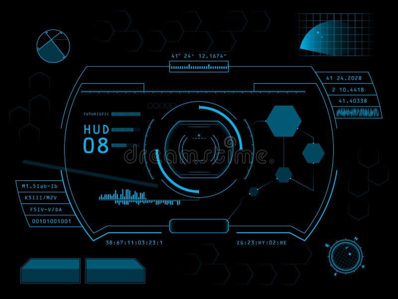 Футуристический пользовательский интерфейс HUD иллюстрация штока