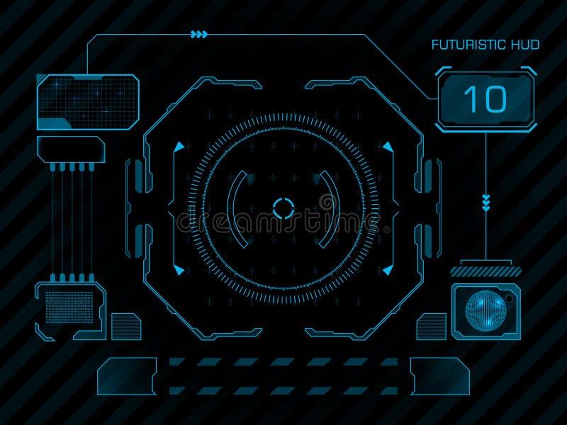 Футуристический пользовательский интерфейс HUD иллюстрация вектора