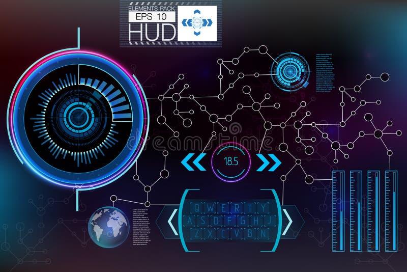 Футуристический пользовательский интерфейс HUD UI Абстрактный виртуальный графический пользовательский интерфейс касания Космичес иллюстрация вектора