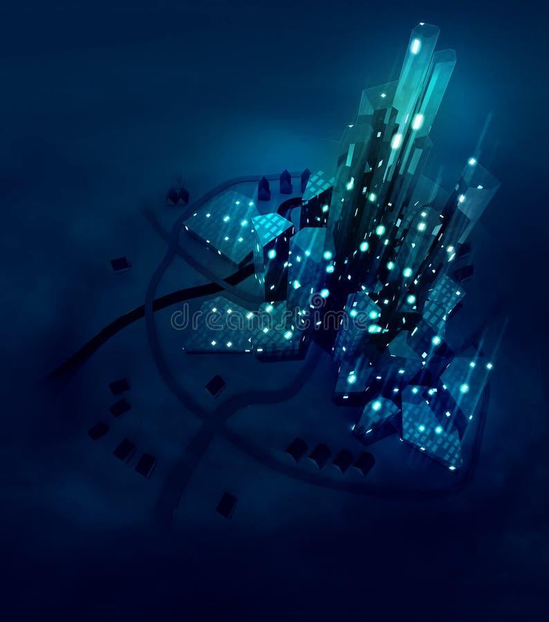 Футуристический прогресс развития, город освещает на ноче иллюстрация штока