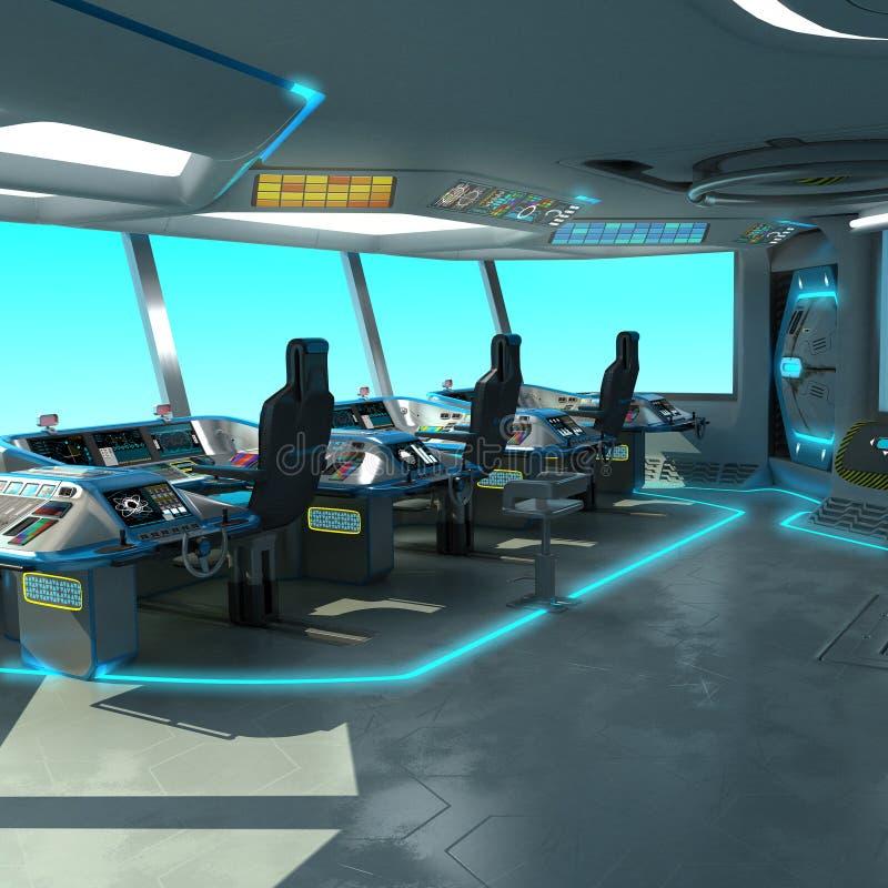 Футуристический проект корабл-вырезывания Мост команды корабля Блоки управления пульта управления и паллета иллюстрация штока
