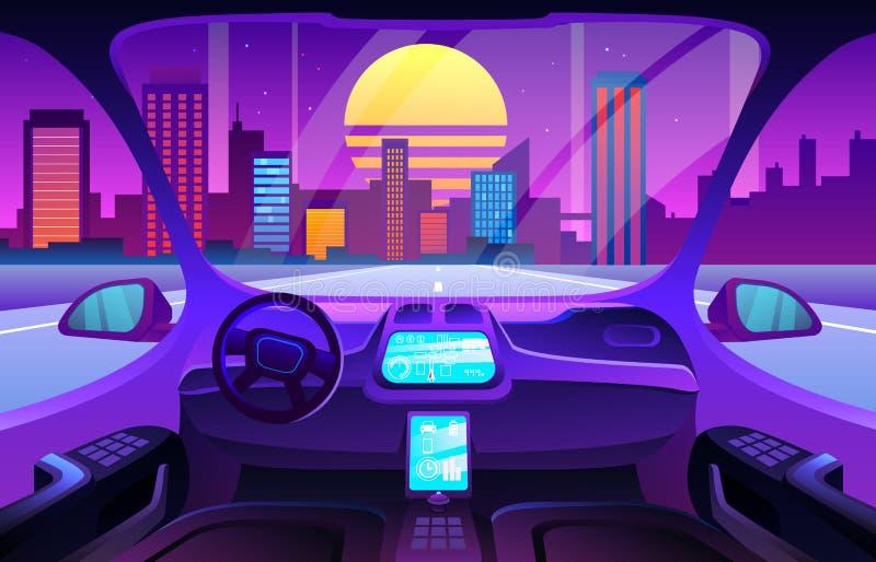 Футуристический салон автомобиля или driverless интерьер автомобиля Интерьер автомобиля Autinomous умный бесплатная иллюстрация