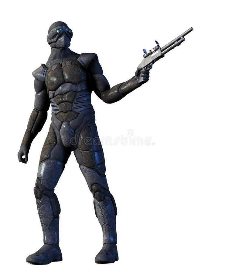 Футуристический солдат с серой формой и футуристическая винтовка иллюстрация вектора