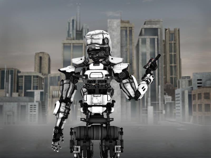 Футуристический солдат робота с предпосылкой города иллюстрация вектора