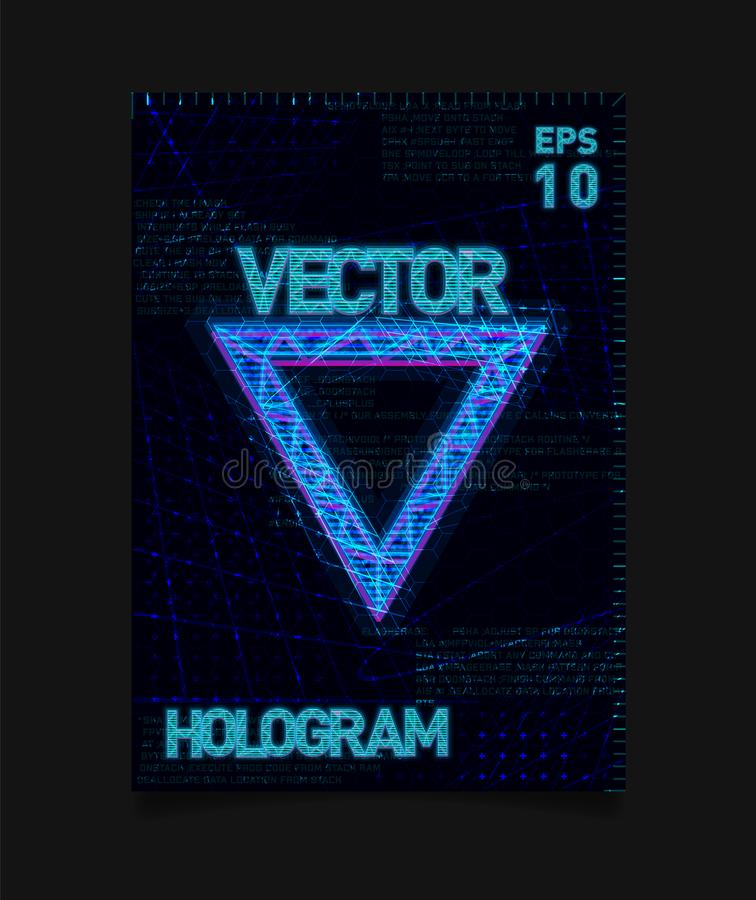 Футуристический треугольник Hologram HUD голубой с влиянием hologram и футуристической текстурой на предпосылке Дизайн для плакат бесплатная иллюстрация
