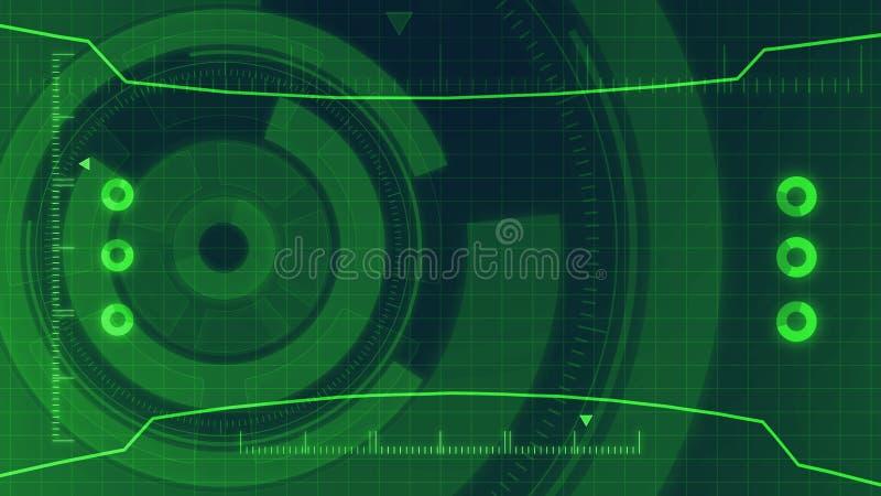 Футуристический цифровой пользовательский интерфейс технологии HUD, экран радара с различным деловым сообществом элементов технол бесплатная иллюстрация