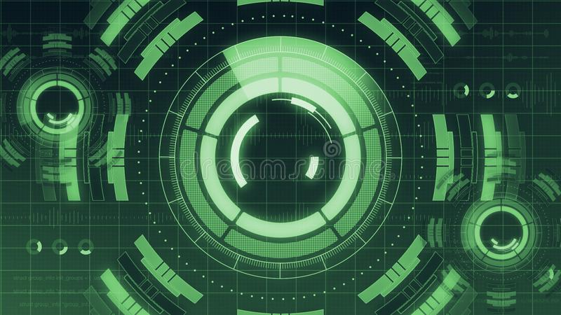 Футуристический цифровой пользовательский интерфейс технологии HUD, экран радара с различным деловым сообществом элементов технол стоковые изображения rf