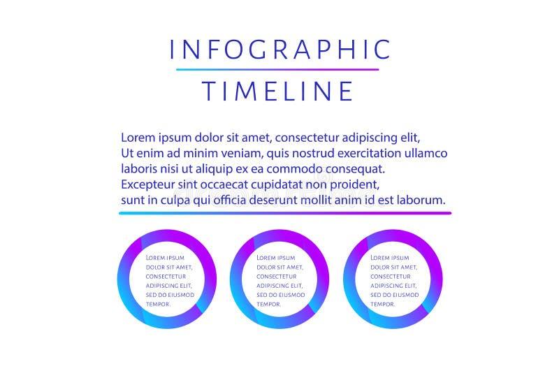 Футуристический шаблон временной последовательности по Infographic с 3 вар иллюстрация вектора