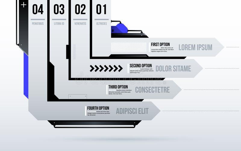 Футуристический шаблон с 4 дирекционными нашивками/вариантами в чистом стиле высок-техника/techno иллюстрация штока