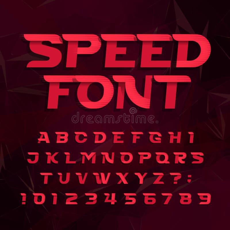Футуристический шрифт вектора алфавита Быстро пройдите тип письма и номера влияния на абстрактной предпосылке иллюстрация вектора
