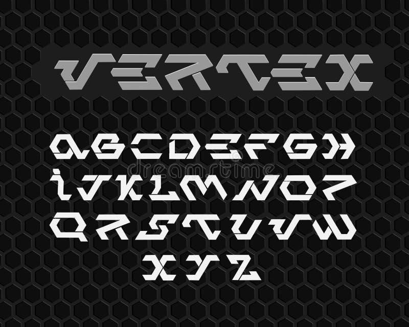 Футуристический шрифт Космический шрифт Комплект алфавита вектора стоковые изображения rf