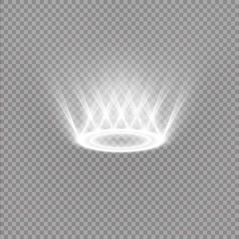 Футуристический teleport Волшебный портал фантазии Световой эффект Белые свечи лучей сцены ночи с искрами на a иллюстрация вектора