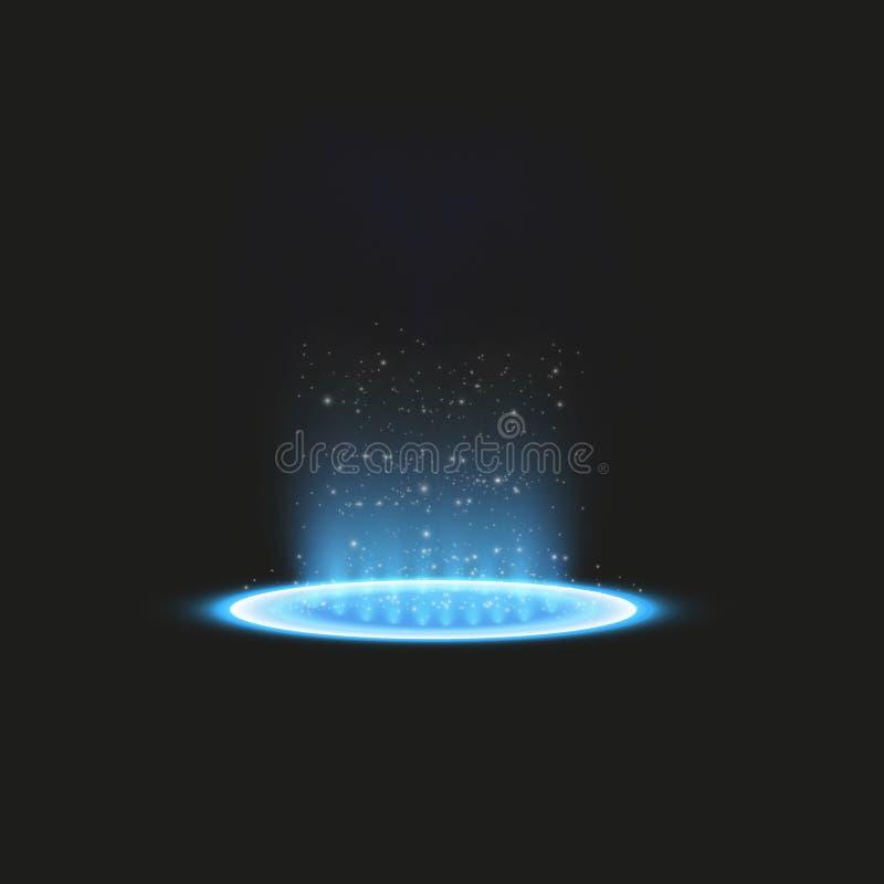 Футуристический teleport Волшебный портал фантазии Световой эффект Голубые свечи лучей сцены ночи с искрами на прозрачном бесплатная иллюстрация