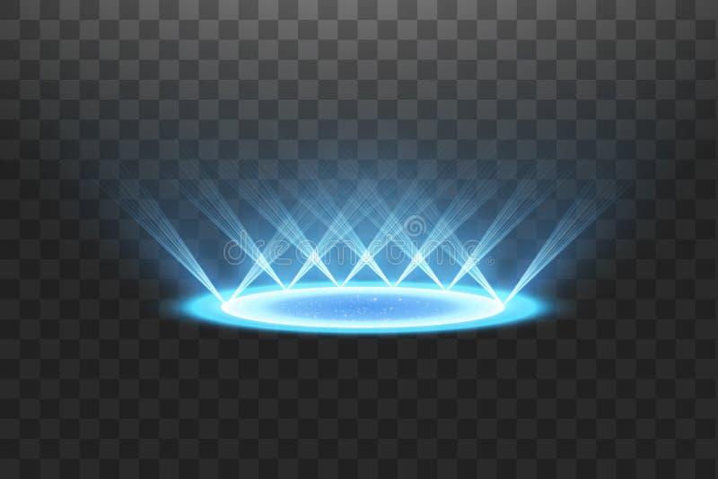 Футуристический teleport Волшебный портал фантазии Световой эффект Голубые свечи лучей сцены ночи с искрами на прозрачном иллюстрация вектора