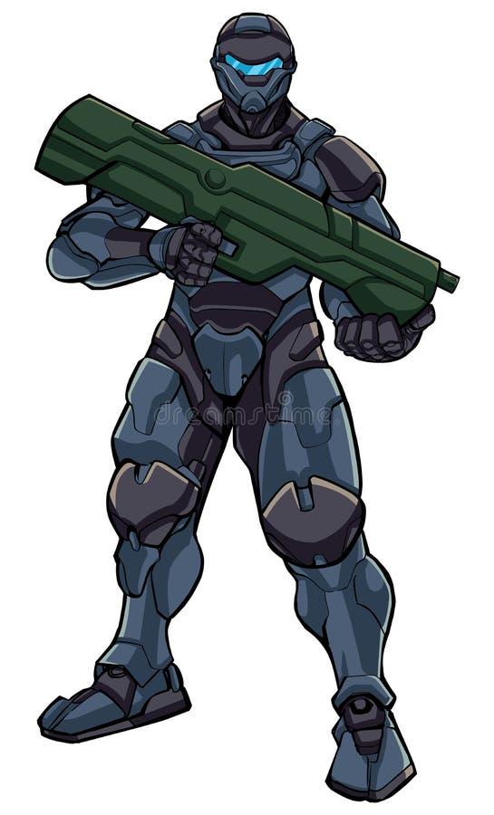 Футуристическое положение солдата иллюстрация штока