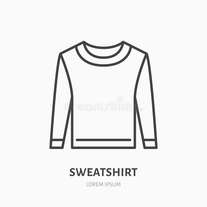 Фуфайка, линия значок свитера плоская Знак магазина вскользь одеяния Тонкий линейный логотип для магазина одежды иллюстрация штока